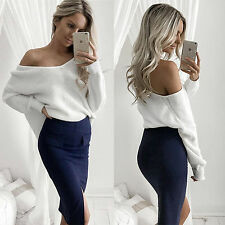 Sexy Womens Off Shoulder Knitted Oversized Baggy Tops Loose Sweater Jumper Top