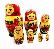Russian nesting dolls 7 pcs hand painted in Russia wooden carving doll NEW