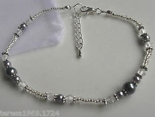 Stretch grey glass pearl crystal silver beaded anklet ankle bracelet bridal prom