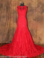 Red Mermaid Lace New Wedding Dress Bridal Gown Custom Size 2 4 6 8 10 12 14 16++