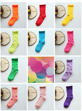Warm Bright Candy Neon & Rich Dark Brushed Cotton Tube Slouch Socks Loose Top