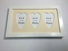 Multi Heart Photo Frame White-Holds 3 x 6''X4'' Choose from 4 mount colours