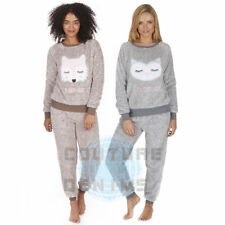 Ladies Two Tone Snuggle Fleece Embroided Animal Pyjama Suit Top & Pants PJ Set