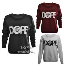 L164 Femme Dame Longues Manches Strass Dope Imprimé Pull-over Pull Sweatshirt