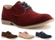 Mens Faux Suede Smart Formal Casual Lace Up Brogues Shoes Size
