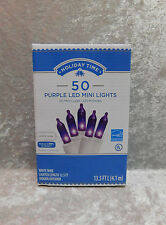 Holiday Time 50 Purple LED Mini Lights White Wire Christmas