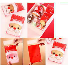 100Pcs Christmas Santa Cellophane Party Treat Candy Biscuits Gift Bags JS