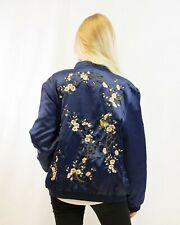 Lady bird and floral embroidered quilted satin bomber jacket black navy blue