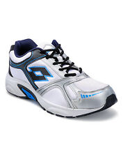 Lotto White/ Navy Mesh & Synthetic Sports Shoes For Men (AR2594)