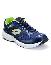 Lotto Navy/Lime Mesh & Synthetic Sports Shoes For Men (AR2564)