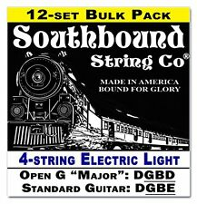 12-pack Electric Light 4-String Cigar Box Guitar Strings - Open G/Standard Tunin