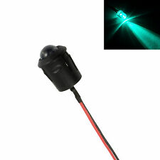 Green Flashing Pre Wired 10mm LED + Bezel Holder Light Lamp 12V Clear Prewired