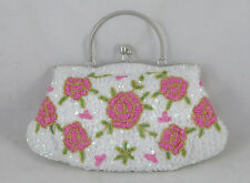 Vintage Style White Pink Beaded Rose Purse Clutch Handbag Formal Casual NEW