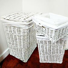 WHITE WICKER WHT LINNING LINEN LAUNDRY BASKET /BIN STORAGE TRUNK HAMPER BASKET