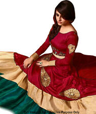 Bollywood Inspired : Fancy Red Banglori Silk Lehenga Choli - 60102