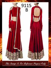 Bollywood Inspired : Wedding Wear Red Raw Silk Lehenga Choli - 9115-B