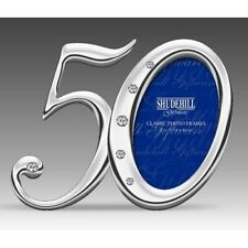 50th Birthday Silver Finish Diamante Number Photo Frame Fifty Present Gift 78050
