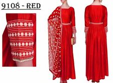 Bollywood Inspired : Party Wear Red Banglori Silk Anarkali Dress - 9108-Red