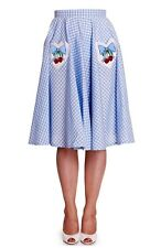 Brand New Vintage Style Blue Gingham & Cherry Swing Skirt Rockabilly Retro