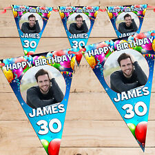 Personalised 30th 40th 50th 60th Happy Birthday PHOTO Flag Banner Bunting - N65a