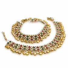 Bridal Designer Antique Gold Tone /Plated Pearl Stone Diamonds Party Anklets