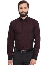 Hancock Maroon Solid Pure Cotton Slim Fit Formal Shirt (43343Maroon)