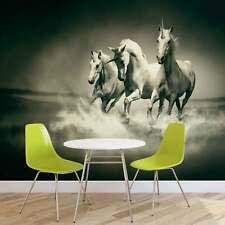 WALL MURAL PHOTO WALLPAPER XXL Unicorns Horses Black White	 (430WS)
