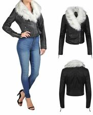 Womens Short Trim PU Leather Winter Crop Jacket Fur Collar Biker Sizes UK 8-16