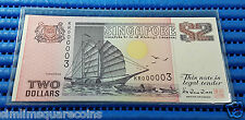 Singapore Ship Series $2 Note KR000003 Golden Number Dollar Banknote Currency