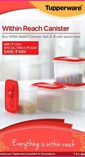 TUPPERWARE WITHIN REACH CANISTERS / AIR TIGHT CONTAINERS WITH SPOON (4 PCS)