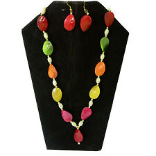 Stunning Handmade Multicolor Marble And Pearl Stone Necklace Set With Earrings