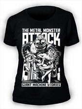 Metal Monsters Attack T-Shirt Womens Funny Retro Pin up Robot tee MM4
