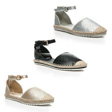 WOMENS LADIES FLAT WEAVE ANKLE CUFF CUT OUT SANDALS ESPADRILLES SHOES SIZE 3-8