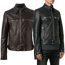 Giacca Giubbotto in Pelle Uomo Men Leather Jacket Veste Blouson Homme Cuir R41a