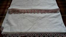 vintage embroidered and crocheted pillowcases