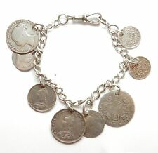 Antique Victorian & Georgian 925 Sterling Silver COIN BRACELET 38.5g 8""