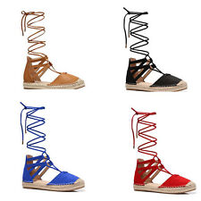 WOMENS LADIES CHUNKY SOLE TIE UP CUT OUT SANDALS ESPADRILLES SHOES SIZE 3-8