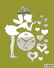 DIY 3D Hearts Girl Wall Clock Wall Sticker Multi color -LaserCraftStore-A1035