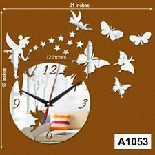 DIY 3D Acrylic engel butterfly star wall clock Multicolor-LaserCraftStore-A1053