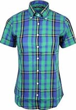 Relco Ladies Green Royal Tartan Check Short Sleeve Button Down Collar Shirt