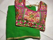 Beautiful Georgette Saree with saten  lace and Stitched  Katchhi Work Blouse