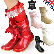 666c27679 GIRLS SPANISH STYLE BOOTS REAL LEATHER RIBBON PATENT ZIPPED UK5-3 PINK  IVORY RED