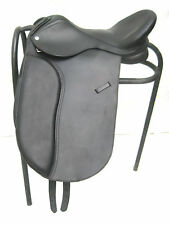 """""""New"""" Leather Dressage Treeless Saddle, Black and Brown colour, Size 16"""" 17"""""""