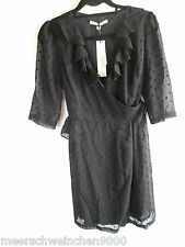 UTTAM BOUTIQUE London Damen Kleid/Wickelkleid Chiffon Punkte Schwarz Gr. 38 40