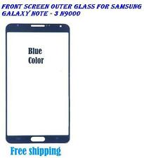 Front Screen Outer LCD Glass Lens Replacement for Samsung Galaxy Note 3 - Blue