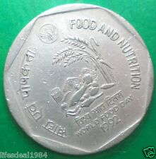 India 1 rupee 1992 F A O World Food Day - Food and Nutrition Commemorative Coin