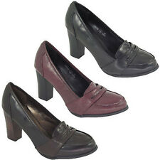 Womens Work Slip On Court Shoes Ladies Leather Look Block Heels Shoes Size 3-8