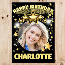 Personalised 18th 21st 30th 40th 50th 60 Happy Birthday PHOTO Poster Banner N99