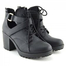 Mujer Bloque De Tacón Cut Out Ankle Botas Mujer Botines Chelsea Negro, Talla UK