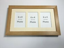 Multi App Photo Frame Oak-Holds 3 x 6''X4'' Choose from 4 mount colours